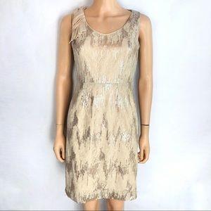 Antonio Melani Beige Lace and Sequin Sheath Dress